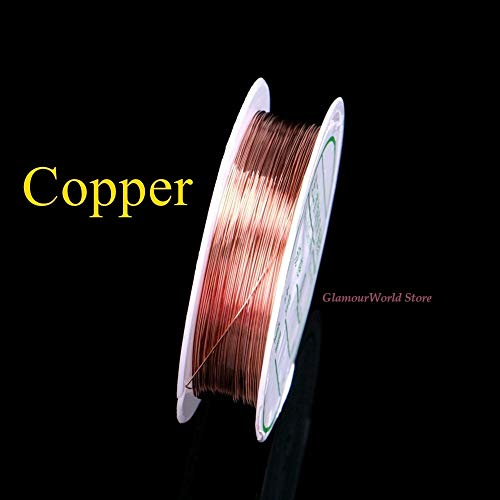 Fincos Copper Wires Metal Wire Cords Ropes 0.2/0.25/0.3/0.4/0.6/1.0mm Thread for Jewelry DIY Silver/Copper - (Color: Copper 0.5mm x 8M)