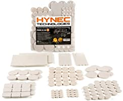 Hynec Premium Furniture Felt Pads LARGE Set 8 Size Self Stick On Chair Pads Floor Protection
