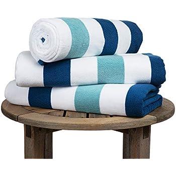 Oversize Plush Cabana Towel by Laguna Beach Textile Co   Marine Blue & Sea Glass Green   1 Classic, Beach and Pool House Towel