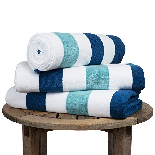 Oversize Plush Cabana Towel by Laguna Beach Textile Co | Marine Blue & Sea Glass Green | 1 Classic, Beach and Pool House Towel (Laguna Stripe)