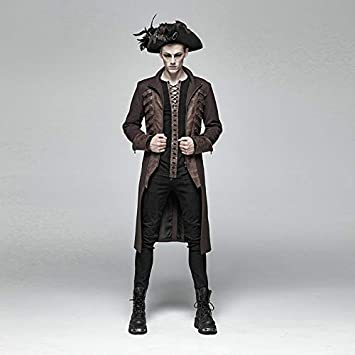 L-XL, BK-CO Punk Rock Men Lace Up Shirt Black Casual Long Sleeve Shirts Bandage Top
