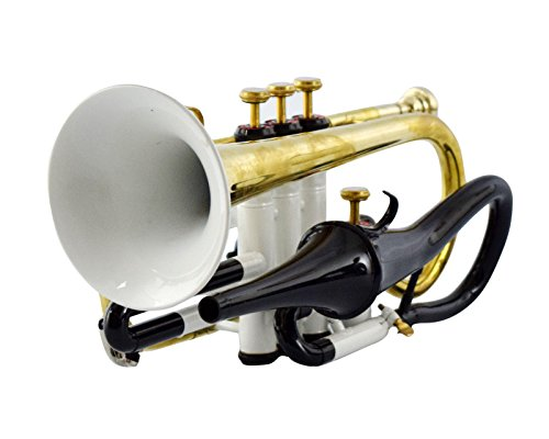 CORNET Bb PITCH WHITE+BRASS COLOR WITH FREE CASE AND MP, SOULFULL SOUND by SAI MUSICAL