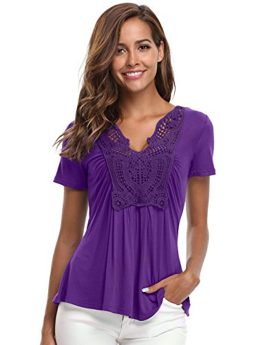 MISS MOLY Women's Deep V-Neck Ruched Front Short Sleeve Ruffle Casual Tops Tunic Blouse Shirt (Large/US-14, Purple) - Gathered Trim Skirt