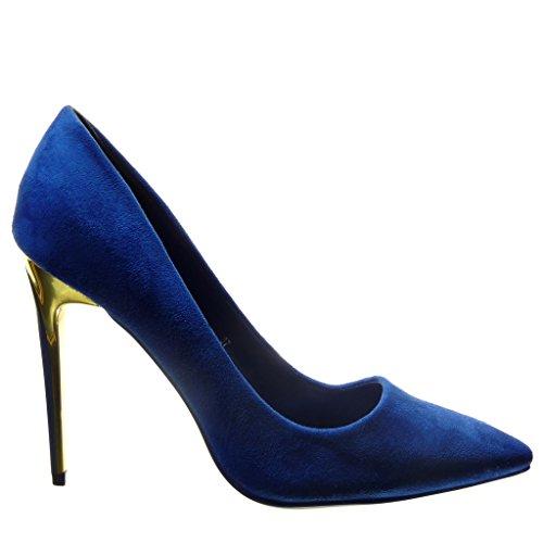 Angkorly - Scarpe da Moda scarpe decollete stiletto sexy donna d'oro Tacco Stiletto tacco alto 10.5 CM - Blu