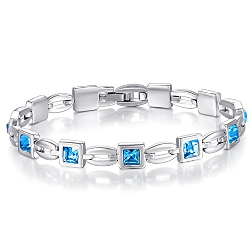 Mondaynoon Womens Swarovski Element Crystal Charm Languishing Tennis Bracelet Jewelry   7 67   Embellished Gift Box Packaged Perfect For Self Or As A Gift  Guarantee  Sea Blue