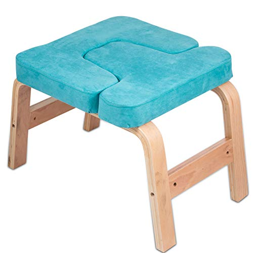 LOVESHARE Headstand Bench Wood Legs Yoga Inversion Chair with Suede Velvet Pads Headstand Trainer Stand Yoga Inversion Bench for Relieve Fatigue and Build Up Body (Lakeblue Suede)