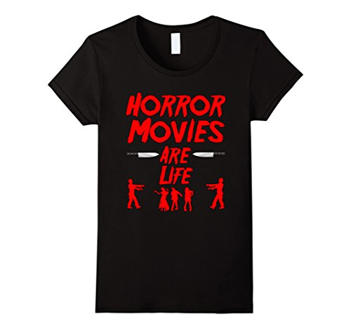 Womens Horror Movies are Life Zombie T shirt Large Black