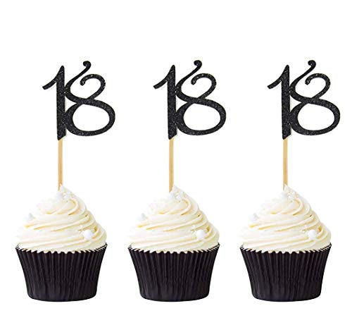 24 Pcs 18th Cupcake Toppers Anniversary Or Birthday Cupcake Picks Party Decoration Black 18th Amazon Com Grocery Gourmet Food