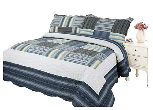 Plaid Printed Bedding 3 Piece Bedspread Quilt Set, Queen, Cadet ()