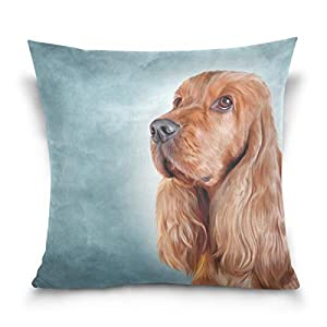 Cooper girl English Cocker Spaniel Portrait Throw Pillow Cover Pillowcase Cotton Cushion Cover 20x20 Inch for Couch Bed Sofa 30