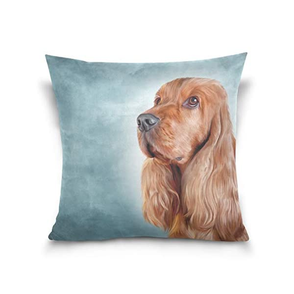 Cooper girl English Cocker Spaniel Portrait Throw Pillow Cover Pillowcase Cotton Cushion Cover 20x20 Inch for Couch Bed Sofa 1