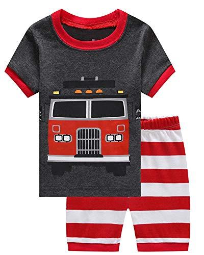 (Boys Pajamas Cotton pjs Size 5 Gray/Red)
