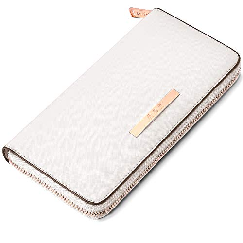Large Capacity Wallet for Women, Zip Around Leather Phone Clutch Card Holder Organizer White (Checkbook Wallet White)