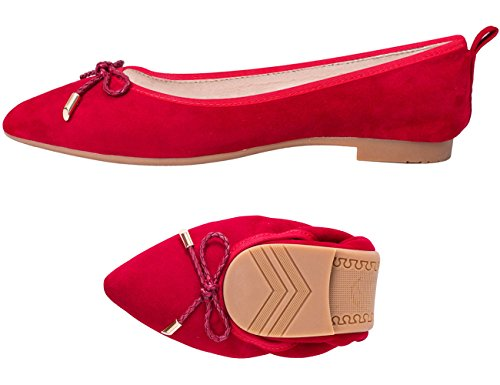 ABUSA Damen Leder / Wildleder Ballett Flache faltbare Spitzschuh Schuhe Flats-rot Wildleder