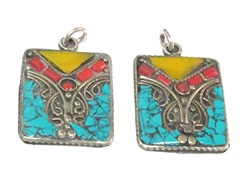 Mosaic Inlay Pendant - 2 pieces - Rectangular square shape Tibetan silver charm pendant with mosaic turquoise coral copal inlay - PM573Ax