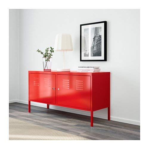 h4home Industrial Metal Cabinet Red Large Industrial Style Sideboard Cabinet Large TV Unit Stand 2 Cupboards Industrial Metal Cabinet Garage Storage Unit Tool Locker Rack Shelves