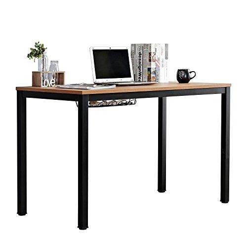 DlandHome 47'' Medium Computer Desk w/Cable Organizer, Composite Wood Board, Decent & Steady Home Office Desk/Workstation/ Table, ND12-120TB Teak & Black Legs, 1 Pack by DlandHome