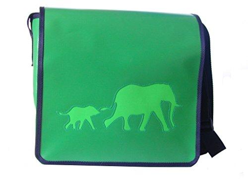 Umhängetasche Huftiere 2 Elefanten Smaragdgrün/Hellgrün H 20, B 26, T 8 cm