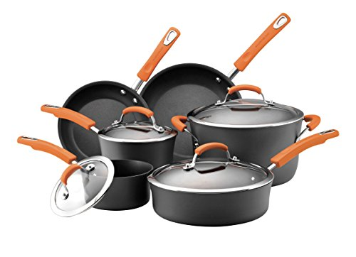 Rachael Ray Hard Anodized II Nonstick Dishwasher Safe 10-Piece Cookware Set, Orange (Cookware Pots And Pans compare prices)
