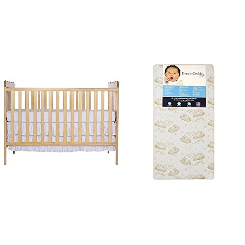 Pecan Baby Furniture (Dream On Me Classic 3 in 1 Convertible Stationary Side Crib with Dream On Me Spring Crib and Toddler Bed Mattress, Twilight)