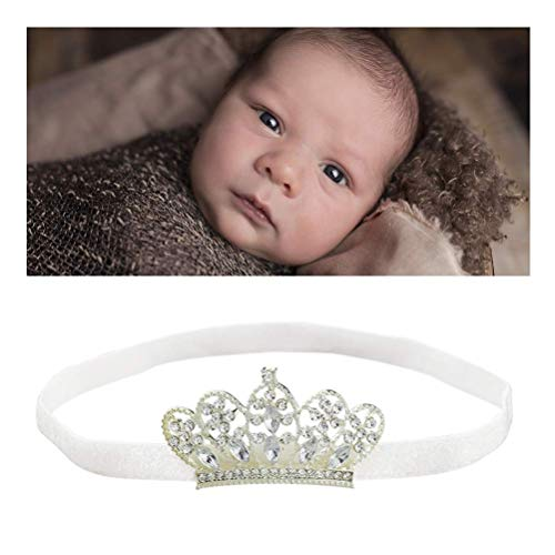 Baby Girls Crown Headbands Elastic Toddler Princess Hair Bands Accessory Tiara Gift Photo Shoot Prop Session for Birthday Party Photography White BLUETOP