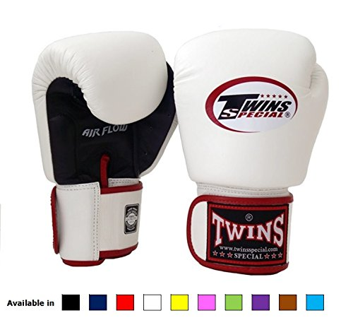 Twins Special Muay Thai Boxing gloves (Air Flow - Black/White/Red, 16 oz)