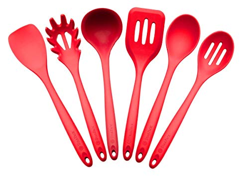 StarPack Basics Range XL Silicone Kitchen Utensil Set (6 Piece) in FDA Grade with Hygienic Solid Coating + Bonus 101 Cooking Tips - Cherry Red