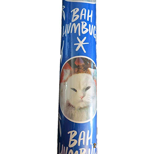 Bah Humbug Cat White cat and Grey Tiger Striped Holiday Wrapping Paper Blue 1 roll 90 sq ft