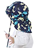 Muryobao Baby Toddler Infants Kids Sun Hat UPF 50+ UV Protection Hats Adjustable Bucket Cap with Neck Flap for Summer Play Beach Swim Dinosaur Blue 12-18 Months