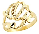 Size- 6.5 - 14k Yellow Gold Initial Letter Ring ''G''