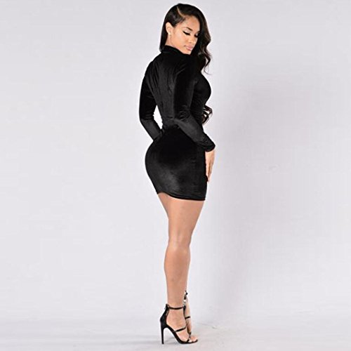 FNKDOR Mujeres Velvet Bodycon Fiesta delgada  Mini vestido de cóctel Negro