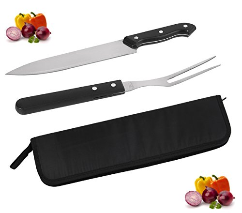 POLIGO Cutlery Carving Knife Set, Sturty Carving Knife and Fork - set of 2 in a handy pouch bag - Perfect Gift Set for Men and (Meat Fork Set)