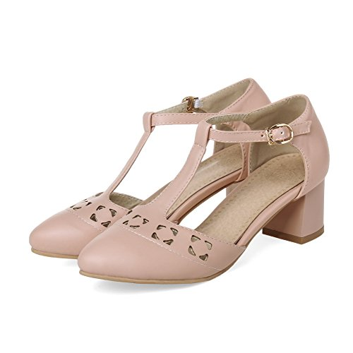 AllhqFashion Womens Soft Material Buckle Pointed Closed Toe Kitten Heels Solid Sandals Pink JwOoRMPAZ