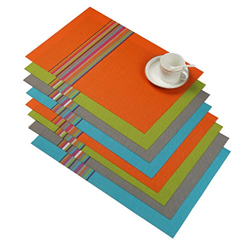 SHACOS Colorful Placemats Set of 8 Woven Vinyl Placemats for Dining Table Heat Resistant Wipe Clean Table Mats (8, Multicolor)