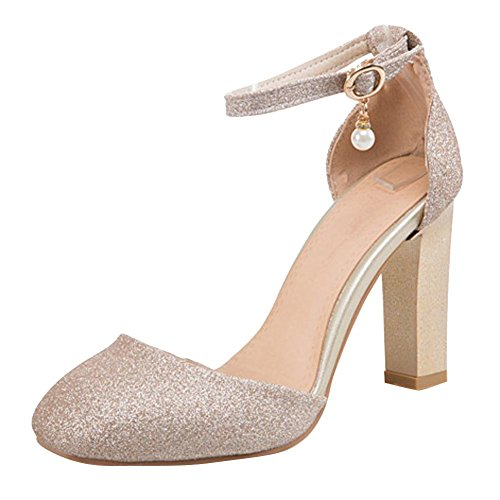 Mee Shoes Women's Charm Block Heel Buckle Square Toe Court Shoes Gold 7ucR2u