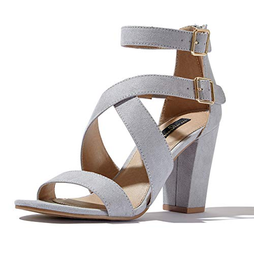 DailyShoes Women's Chunky Heel Sandal Open Toe with Adjustable Buckle Cross Ankle Strap Casual Dress Sandals, Grey SV, 5.5 B(M) US ()