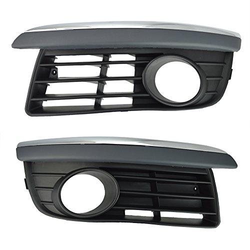 Runmade Front Lower Bumper Driver & Passenger Side Grill Insert W/Chrome Trim for 06-10 Volkswagen Jetta Mk5 (L&R,Pack of 2)