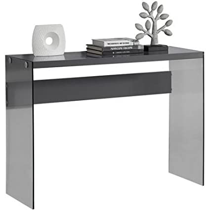 Monarch Console Table With Tempered Glass (Glossy Grey)