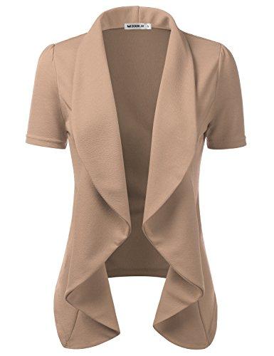 CLOVERY Women's Short Sleeve Lightweight Thin Chiffon Open-Front Blazer Mocha L Plus Size