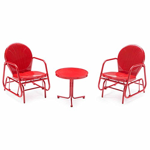 Vintage Single Glider Chat Set (Red) for patio outdoor/backyard furniture single seat glider with side table. Bold colors that add a cheery look to your backyard living. (Metal Glider Vintage)