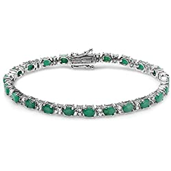 10.00 Carat (ctw) 925 Sterling Silver Real Oval Green Emerald and White Topaz Genuine Tennis Bracelet