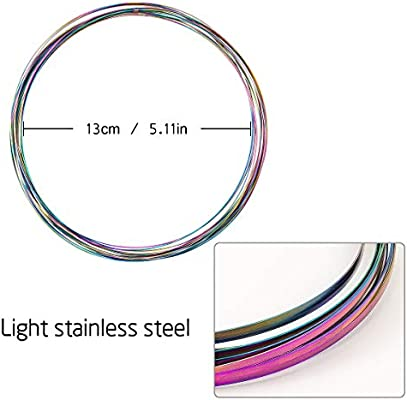 Cosweet-4 Pack Magic Flow Ring Spinner Ring Bracelets Kinetic Rings with Carry Bag Rainbow Colored