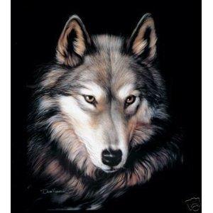 New Sig. Collection Indigo Wolf Face Queen Size Mink Blanket ()