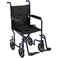 "Drive Medical Aluminum Transport Chair, 19"", Blue"