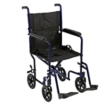 "Drive Medical Aluminum Transport Chair, 19"", Blue"