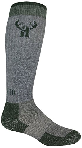 - 2 Pack Huntworth Men's Tall Merino Wool Boot Sock, Charcoal/green, Large