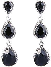 Women's Silver-tone Austrian Crystal Tear Drop Pear Shape Long Earrings
