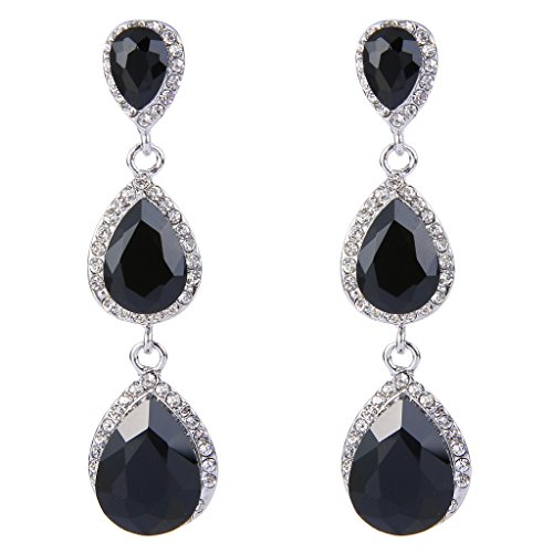 EleQueen Women's Silver-tone Austrian Crystal Tear Drop Pear Shape Long Earrings Black