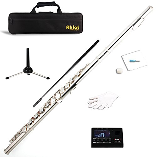 Aklot C Flute Cupronickel Nickel Plated for Student Split E with Stand Tuner Cleaning Kit - Brass Fluted Rod