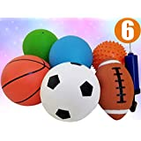 "Pack of 6 Sports Balls with 1 Pump - 5"" Soccer, 5"" Basketball, 5"" Volleyball, 5"" Playground, 5"" Knobby Ball, and 6.5"" Football - Best Toy Gift for Kids Toddler Baby Boys and Girls Age 1, 2 and 3"
